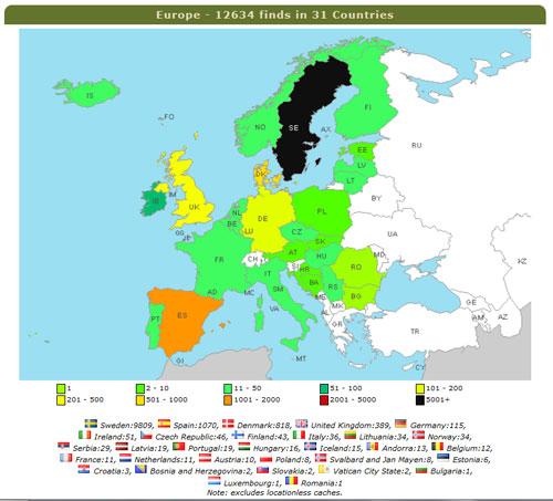 Europakartan före resan...