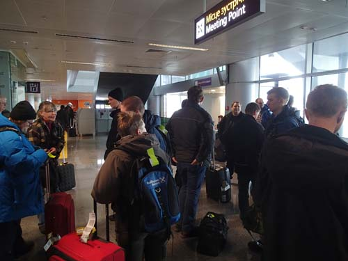 Samling på Kievs flygplats.
