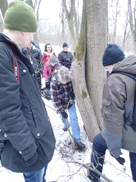 Efter en omfattande snöröjning mellan träden fick vi se oss besegrade.