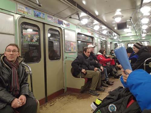 Geocachare på tunnelbanan.