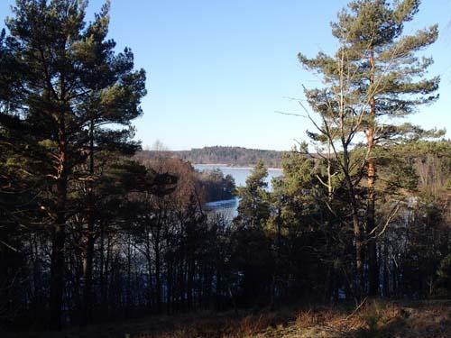 Vyerna över Delsjön var extra vackra i solskenet över den istäckta sjön.