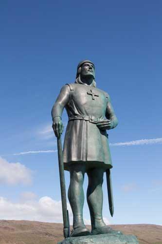 Leif Eriksson i närbild - den man som enligt sagan och myten var den första personen från Europa som steg iland i Nordamerika.