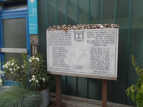 Minnestavla över terrorattacken under OS.