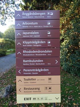 Nya skyltar i Botaniska - visar även hur mycket gångvägen lutar! Det är faktiskt inte obefogat i detta mycket kuperade område.