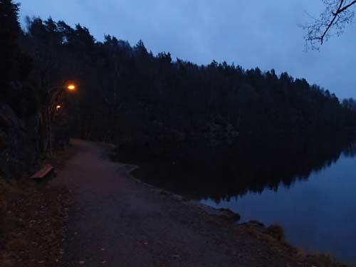 Ljuset började sprida sig över skogen när jag nådde Blacktjärn vid åtta tiden.