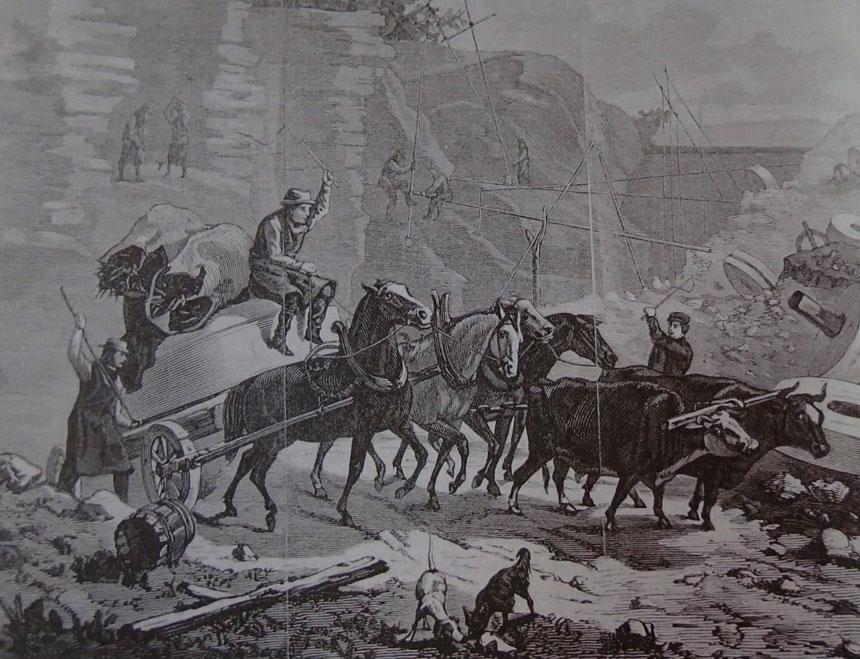 Bilden är hämtad från Ny Illustrerad tidning och visar det tunga och farliga arbetet med att föra kvarnstenarna från kvarnstensgruvan.
