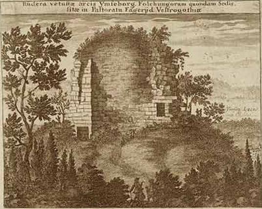 """""""Ruiner av den gamla folkungaborgen Ymseborg I Fägre Pastorat i Västergötland"""" Ur Erik Dahlbergs Suecia Antiqua et Hodierna"""