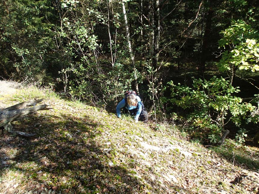 """Jsson klättrar upp för """"berget""""."""
